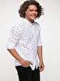 DeFacto Kol Katlama Detaylı Slim Fit Baskılı Gömlek Beyaz